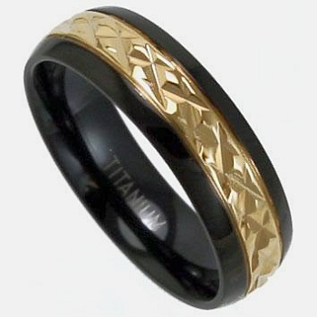Black Titanium Ring With Gold Engravings