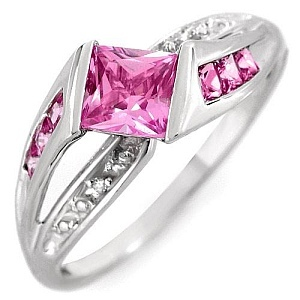 Attractive Ring With 1.11ctw Precious Stones - Genuine Diamonds, Topazes Made of White Gold