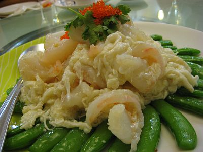 Succulent Prawn In Egg White and Beans