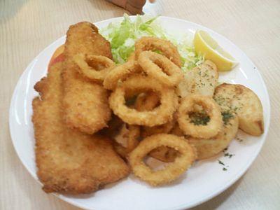 Fish & Calamari With Potatoes & Salad