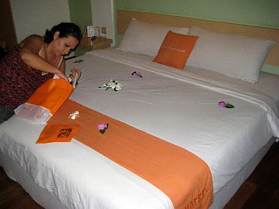 Our Kingsize Bed with flowers