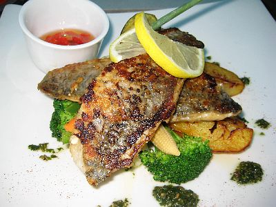 Char Grilled Sea Bass With Herbs And Veggies...Yum!
